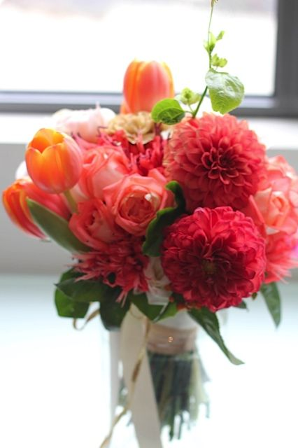 Dahlias, roses and tulips. Bridal bouquet. One of my favourites of all time.