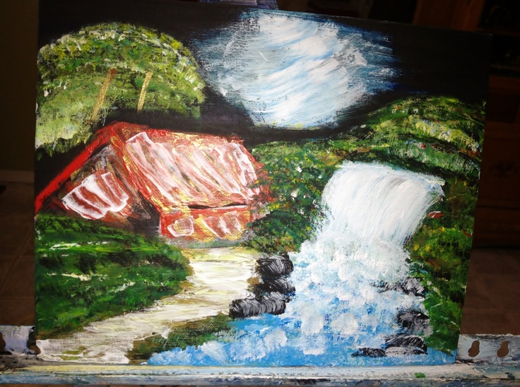 Cabin by Waterfalls  Acrylic on canvas  Aug. 2012