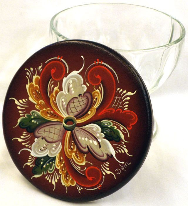 Glass Bowl With Top,  Wood,  Designed, Handpainted & Signed  #TelemarkRosemaling