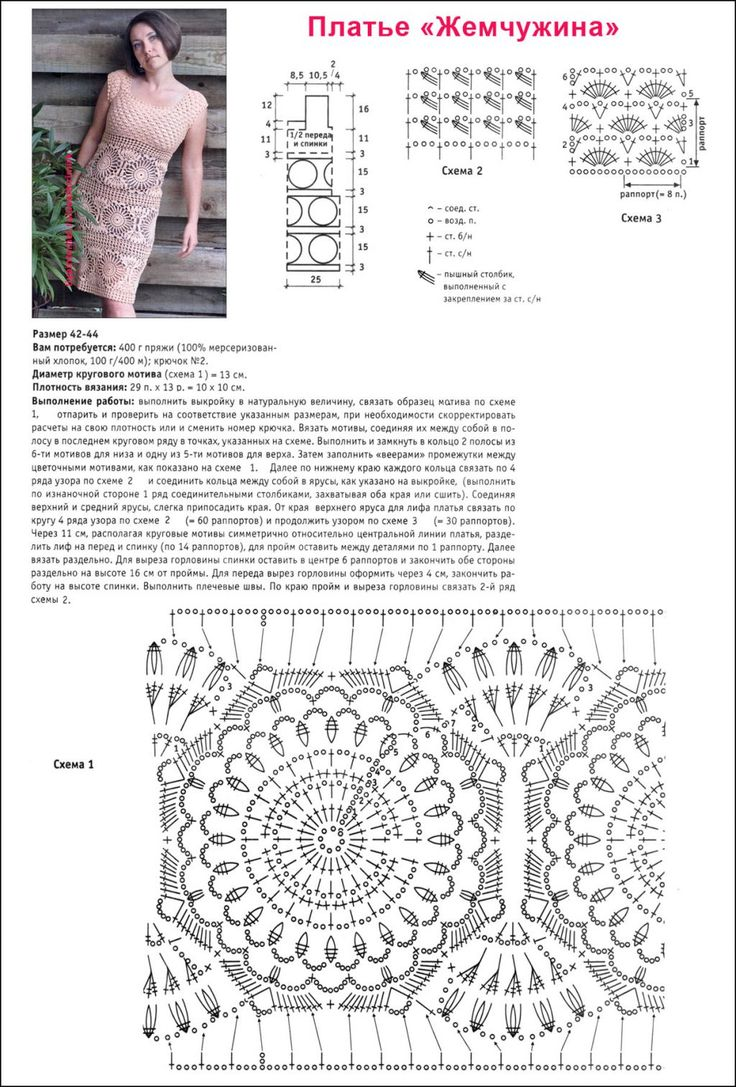 Ажурные платья крючком схемы и описание фото