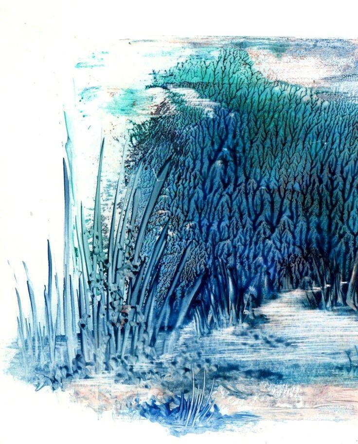 encaustica em azul
