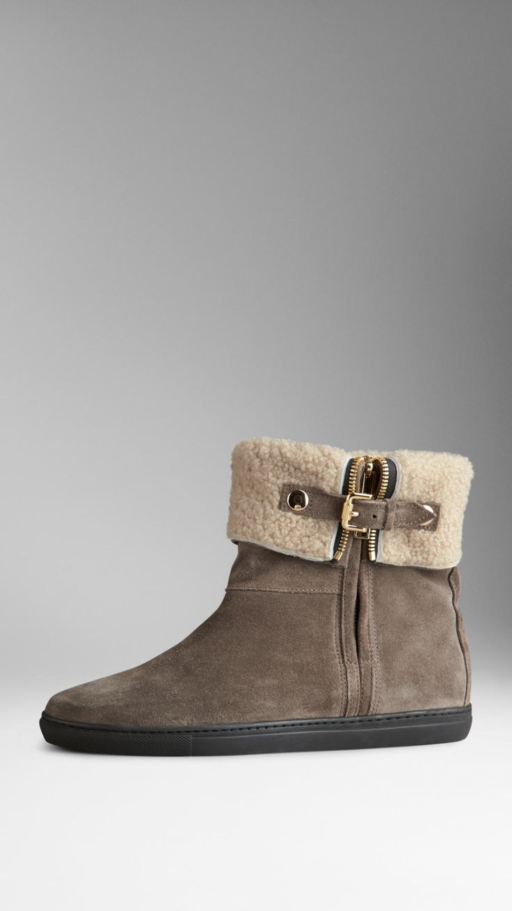 Shearling-Lined Suede Weather Ankle Boots | Burberry
