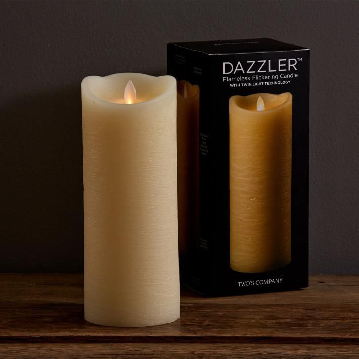 """$120.00 Two's Company 9"""" Dazzler Flickering Candle 9"""" Dazzler(tm) Twin Light Flameless Flickering Candle with Timer Option and Remote Ready in Gift Box (5 on/19 hours off, remote sold separately, uses 3 AAA batteries not included, lasts 150 hours)"""