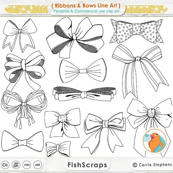 Ribbons & Bows Line Art, Tied Bow ClipArt, Hand Drawn Digital Clip Art, Bow Digital Stamp, Printable Download Card Making Supplies