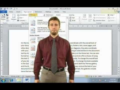 How to use Section Break in Microsoft Word 2010 (Online Tutorials) - YouTube