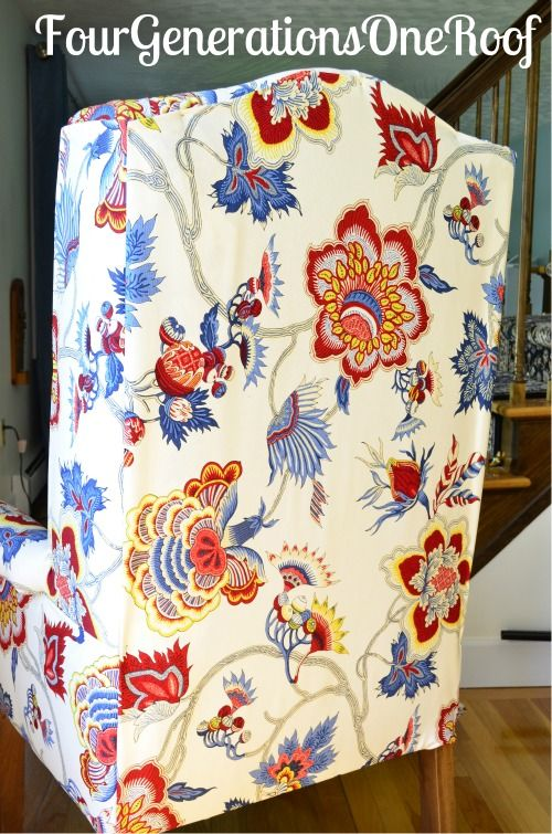 DIY Reupholstered Dining Room Wingback Chair So Want To Do This For A Summer Project