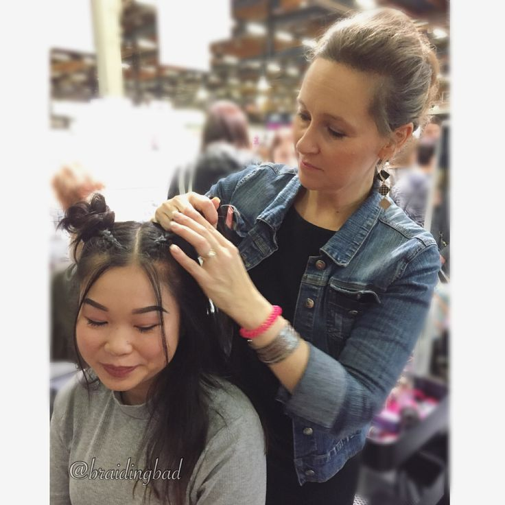 """105 tykkäystä, 2 kommenttia - Heli (@braidingbad) Instagramissa: """"#dutchbraids into #messybuns at the I❤me-fair, created with only 2 @invisibobble Nano hair rings.…"""""""