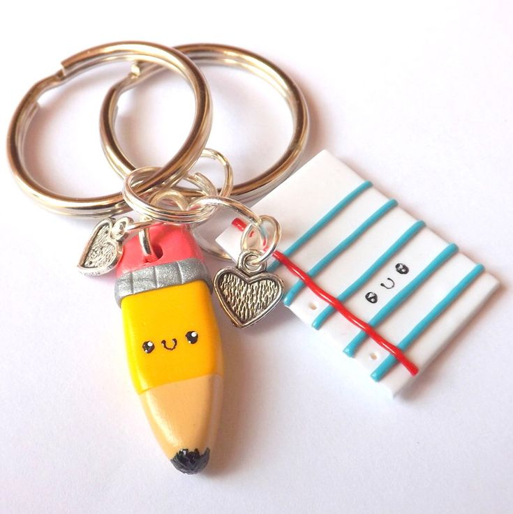Pencil and Paper Best Friend Keychains - Matching Keychains -  Funny BFF Gift - Polymer Clay Kawaii Keychains - PitterPatterPolymer by PitterPatterPolymer on Etsy https://www.etsy.com/listing/224083383/pencil-and-paper-best-friend-keychains