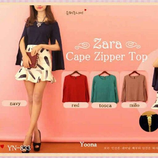 Zipper Cape top . Matterial twiscone. IDR 100000