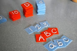 What a great and easy way to make letter tiles. I just made the felt art board, this will be a nice addition. Any color imaginable, like for All About Spelling.
