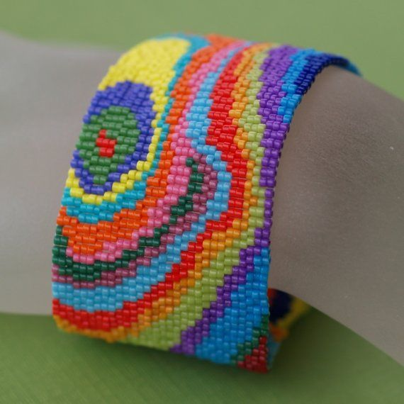 Bois Peint, a most colorful version of my Faux Bois (false wood) design, created using opaque Japanese delicas in more than 15 colors. $67 #fauxbois #peyote #handmade #jewelry #bracelet