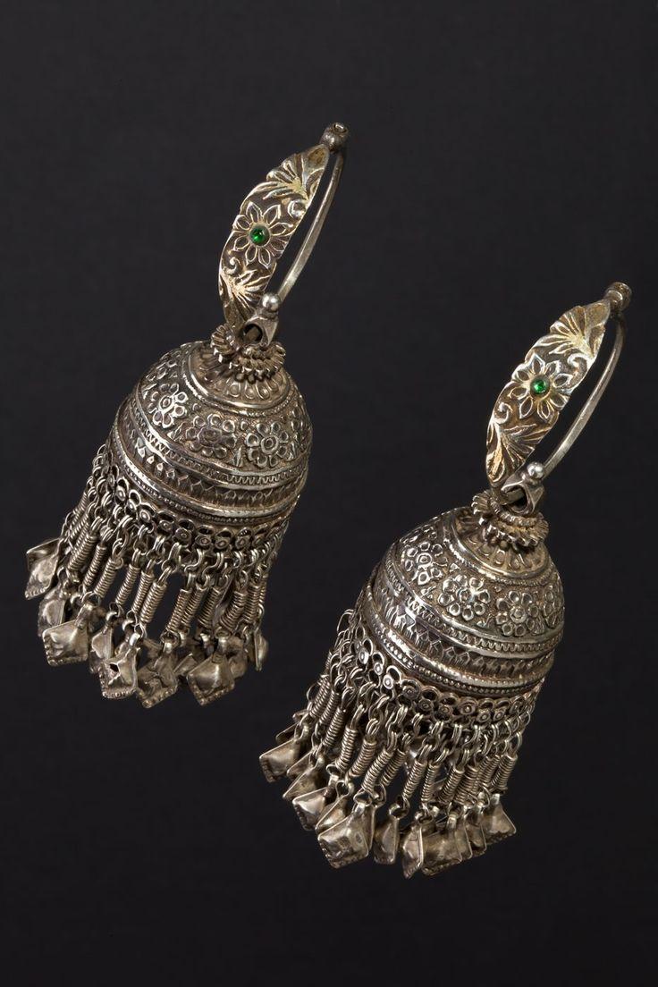 Rajasthan and Northern India   Vintage Karanphul Jhumka earrings.