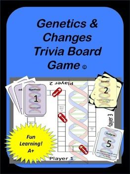 Genetics & Change Trivia Board Game: This board game focuses on the science surrounding Genetics and changes which occur to living organisms:* Gregor Mendel* Dominant Trait* Recessive Trait* Heredity* Alleles* Genetics* Hybrids* Punnett Square* Genotype* Phenotype* Homozygous* Heterozygous* Incomplete Dominance* Polygenic Inheritance* Sex-Linked Gene* Genetic Engineering* Gene Therapy* Species* Evolution* Variation* Natural Selection* Gradualism* Punctuated Equilibrium* DNA* Pedigree…