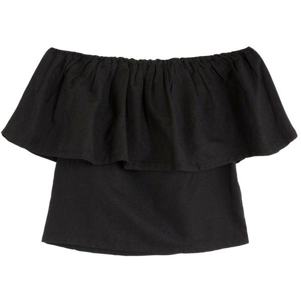 Mara Hoffman Black Ruffle Top found on Polyvore featuring tops, sweaters, ruffle top, off the shoulder sweater, off shoulder sweater, layered sweater and frilly tops