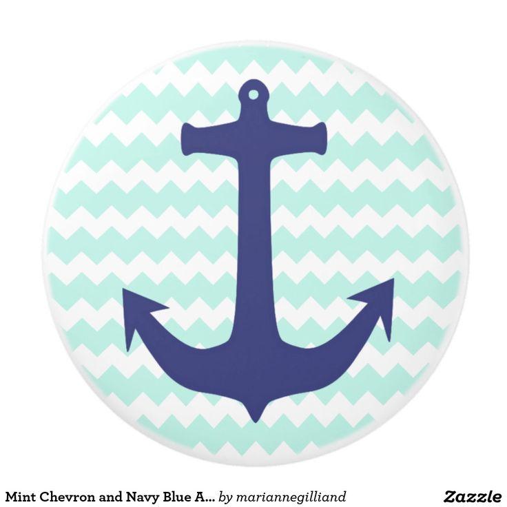 Mint Chevron and Navy Blue Anchor Ceramic Knob