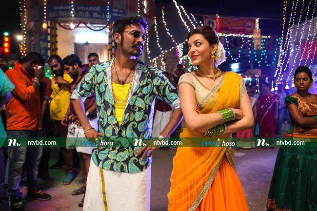 তামিল ছবি 'মারি'র একটি গানের দৃশ্যে জনপ্রিয় অভিনেতা ধানুশ ও অভিনেত্রী কাজল আগারওয়াল। ১৭ জুলাই-২০১৫ ছবিটি মুক্তি পাওয়ার কথা রয়েছে। ছবি : আইএএনএস http://photo.ntvbd.com/entertainment/bollywood/shooting-spot/dhanush-and-aggarwal-in-tamil-film-maari/1434606998.ntv