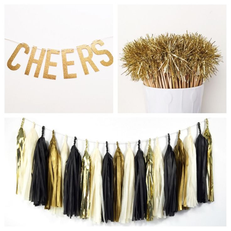 DIY New Years Wedding Ideas Gold: Gold and Black Glam Tassel Garland, Drink Stirrers and this Glitter Banner make the perfect DIY New Year's Eve Party Decor Pack.: