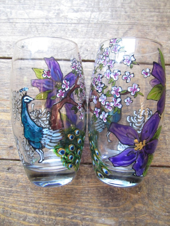Pair of handpainted tumblers with peacock and cherry blossom via Etsy Peacocks, drinks, gin & tonic