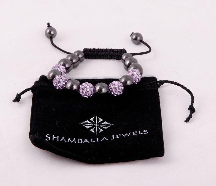 Браслет Шамбала с глянцевыми и светло-фиолетовыми бусинами со стразами #19871