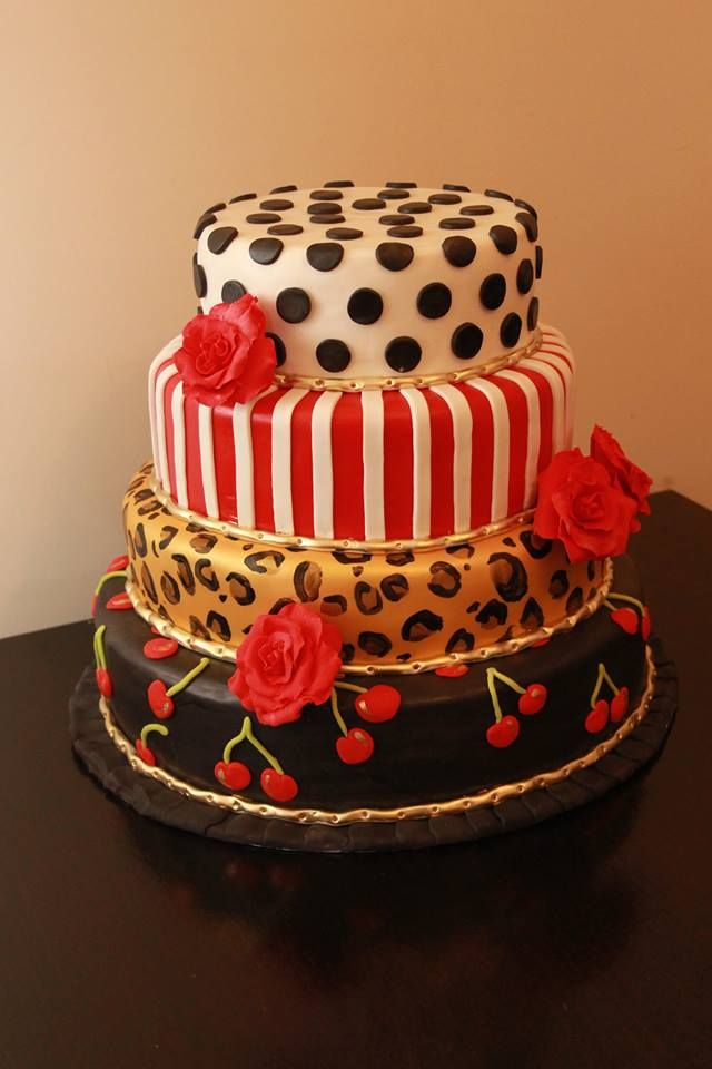 Rockabilly 30th birthday cake. Gold highlights. Cherries ...