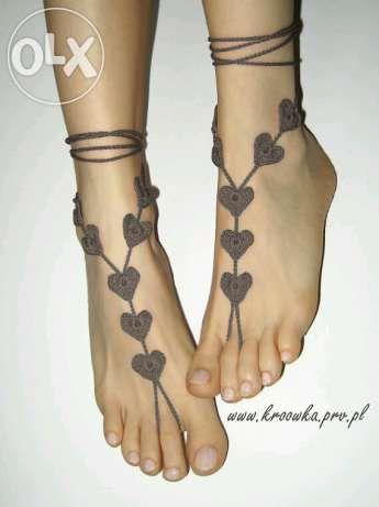 Огромная подборка вязаных украшения для ног. Идеи+схемы+мк - Nebka.Ru