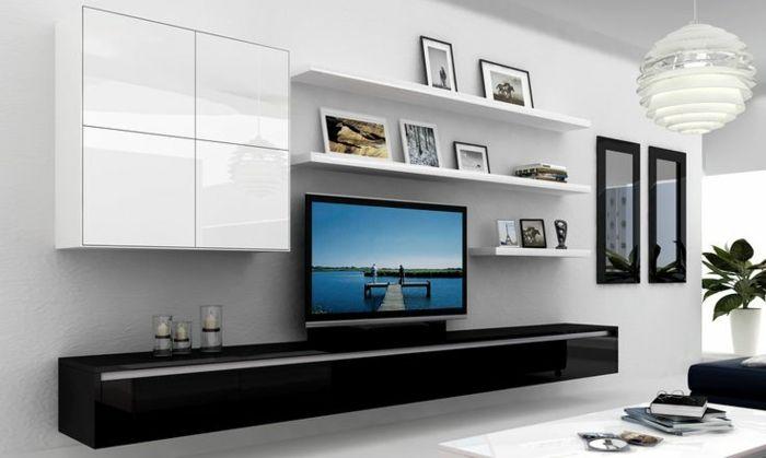 ikea wohnwand modernes design schränke hochglanz fronten offene regale kommode schwarz