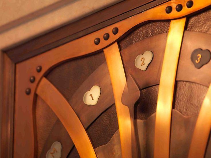 Amazingly detailed, art nouveau styled elevator floor indicator in Four Seasons Gresham Palace Budapest.