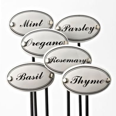 French-inspired ceramic herb markers are simple, yet elegant. Perfect for the garden and kitchen.
