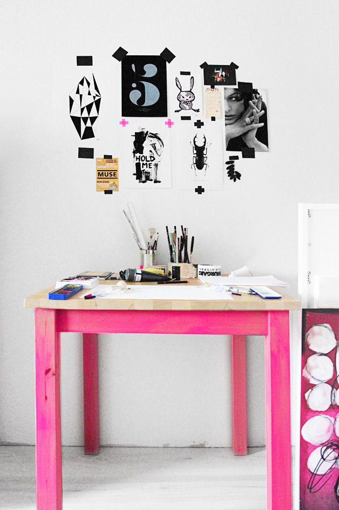 SMÄM – Illustrations and stuff - ARTIST Sara Woodrow's STUDIO in Sweden, featuring a simple PINK stained Ikea worktable