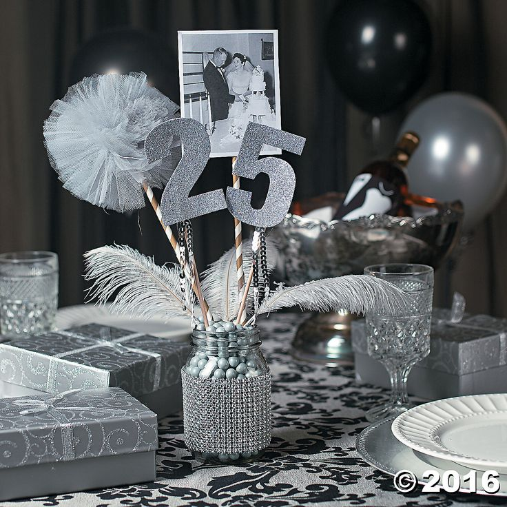 25th Anniversary Party Mason Jar Centerpiece Idea - OrientalTrading.com