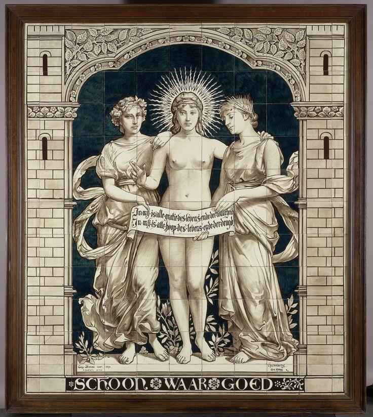 Tegeltableau met de personificaties van het Schone, het Ware en het Goede, N.V. Haagsche Plateelfabriek Rozenburg, Daniël Harkink, Georg Sturm, 1893
