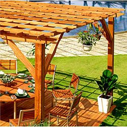 @Overstock - Enhance your patio decor with this beautiful wood pergola Sturdy outdoor furniture is constructed with 100-percent premium-grade hardwood Elegant pergola showcases contoured roof ends and carved postshttp://www.overstock.com/Home-Garden/Premium-Wood-Pergola/3379750/product.html?CID=214117 $1,799.99