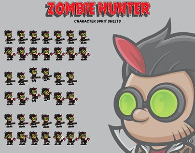 """Check out new work on my @Behance portfolio: """"Zombie Hunter Character Spritsheets"""" http://be.net/gallery/44568361/Zombie-Hunter-Character-Spritsheets"""