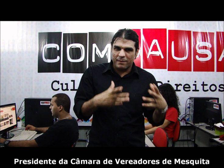 Autor de Moção de Aplausos para a ComCausa, o presidente da Câmara de Vereadores de Mesquita visitou a sede da Instituição em outubro de 2011 e gravou entrevista com o então coordenador Adriano Dias para seu programa na CNT.  #ComunicandoComCausa  #ComCausa