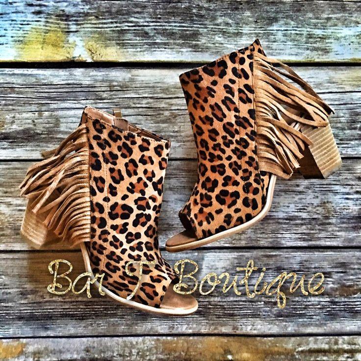 Louella Leopard Fringe Booties