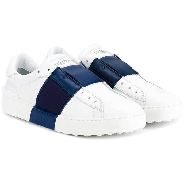 Valentino Garavani White Navy Open Sneakers (6865 MAD) ❤ liked on Polyvore featuring shoes, sneakers, leather trainers, valentino sneakers, navy white shoes, valentino trainers and genuine leather shoes