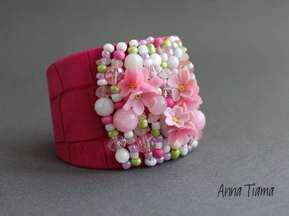 """Браслеты ручной работы. Ярмарка Мастеров - ручная работа. Купить Браслет """"Spring"""". Handmade. Розовый, широкий браслет, Эко-кожа"""