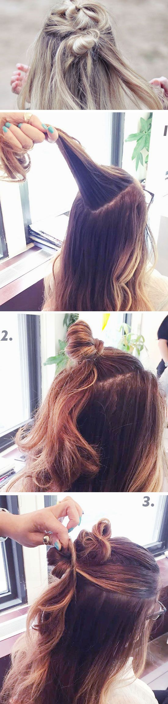 Half-Up Double Top Knot | Easy Boho Hairstyles for Medium Hair