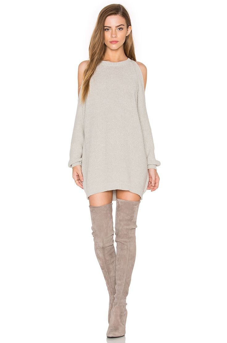 Bishop + Young Cold Shoulder Tunic Sweater in Grey