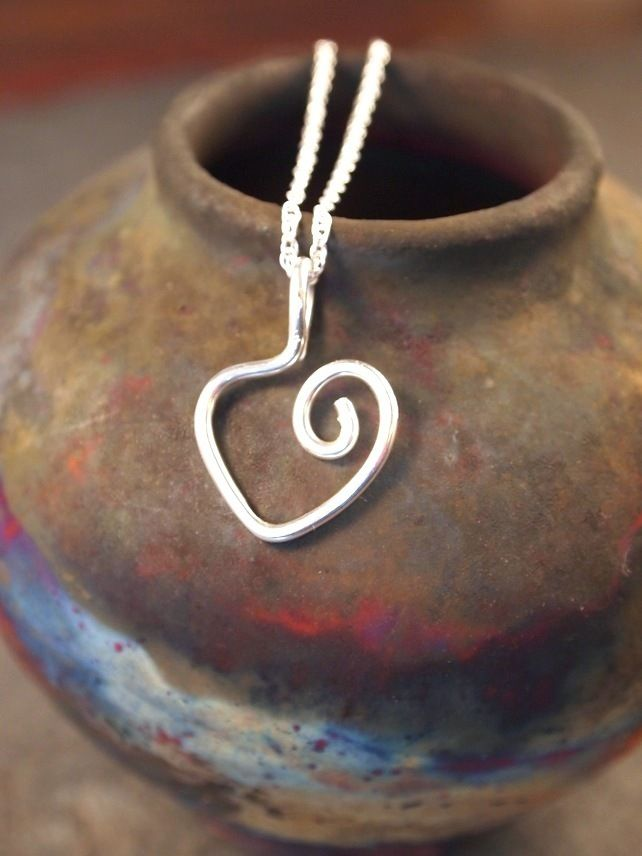 Valentine, love heart, Sterling Silver heart Pendant £25.00