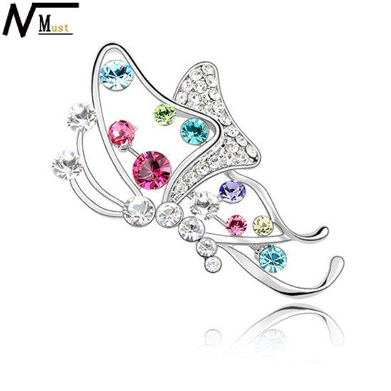 mt gioielli spedizione gratuita in platino placcato accessori abito da sposa sciarpa spilla in cristallo pin spilla a farfalla