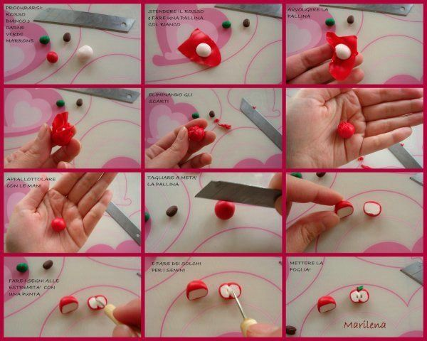Tutorial on how to make an apple in polymer clay, Fimo or fondant