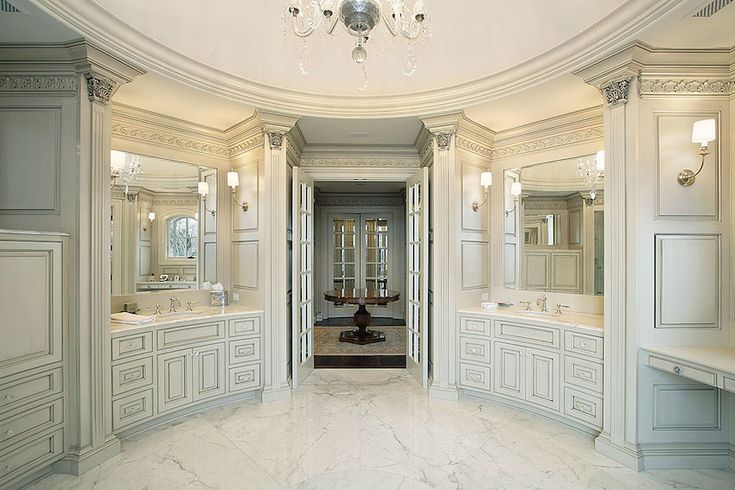 Circular luxury master bathroom with carved ceiling and vanities. 50 Magnificent Luxury Master Bathroom Ideas ➤To see more Luxury Bathroom ideas visit us at www.luxurybathrooms.eu #luxurybathrooms #homedecorideas #bathroomideas @BathroomsLuxury