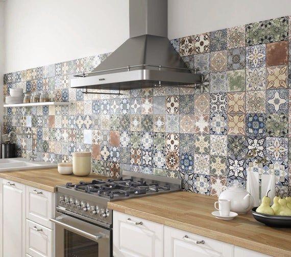 Tile Stickers Vintage Color Tiles For Kitchen Bathroom Backsplash Floor Decals Wall Decal Stair Riser Decal Removable Peel Stick Tiles Kitchen Tiles Kitchen Remodel Kitchen Design