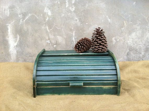 Bread Box  Breadbox  Wooden Breadbox  Woodland by TimelessNchic, $29.95 #primitive #industrial #rustic #box #breadbox #farmhouse #green #rolltop #kitchen #homedecor #christmas #gift #country #woodland #frenchcountry