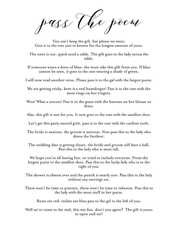 Pass The Poem Bridal Shower Game In 2019 Bridal Shower