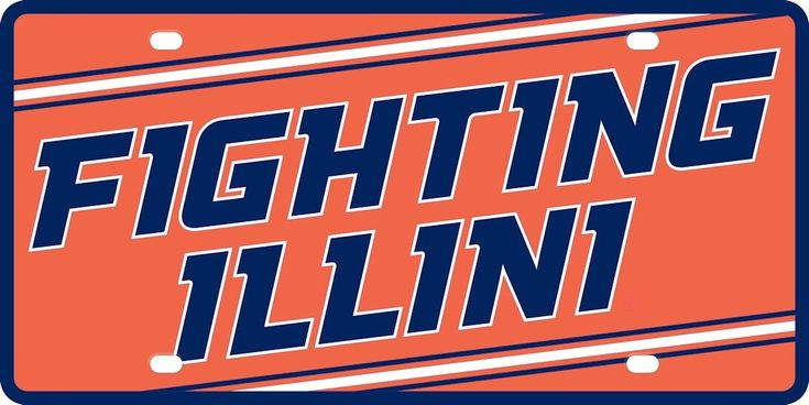 Illinois Fighting Illini License Plate - Acrylic Mega Style