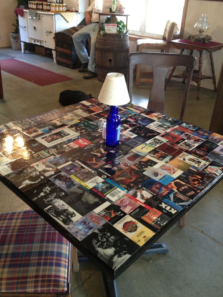 I Tool Old Cassette Tape Covers Glued Them To A Pub Table
