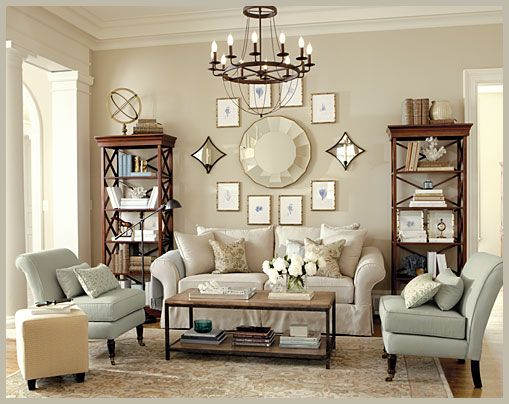 wall arrangement: Wall Decor, Rooms Layout, Living Rooms, Decor Ideas, Bookcases, Color, Chairs, Book Cases, Ballard Design