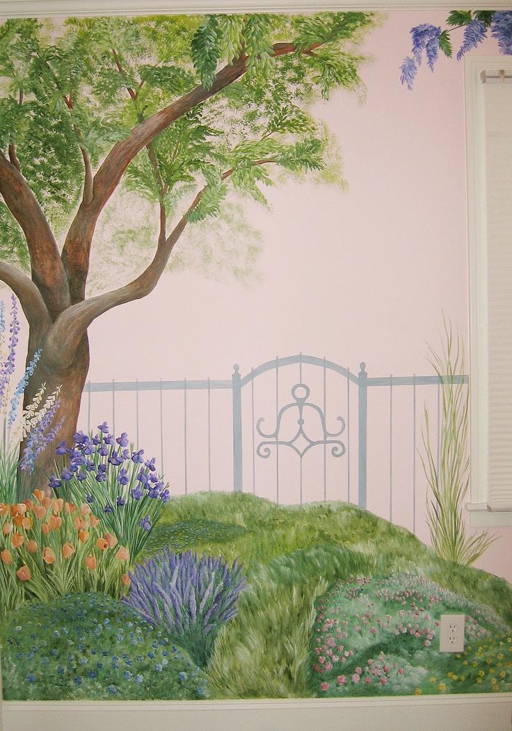 secret garden mural, nature mural, tree mural